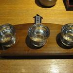 たらふく うなり - 鶴齢飲み比べ(荒ばしり、中取り、責め)(新潟):700円