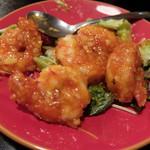 ユウヅル亭 - エビチリ(写真撮る前に食べちゃった。大きなプリプリエビが一人2個はありました)
