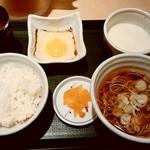 国産二八蕎麦 蕎香 - 国産二八蕎麦 蕎香@上野 朝定食 生たまご・国産とろろ(450円)