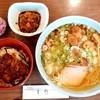 食堂きかく - 料理写真:亀鶴@飯野川(石巻) 半ソースかつ丼+サバだしらーめんセット・ソース煮玉子(1050円+50円)