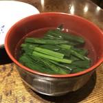 飛うめ - ◆お吸い物(50円)・・インスタントでないのが良いですね。 ほうれん草と薄い蒲鉾入り、お味は普通。