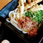 86122694 - 博多セット(ごぼ天うどん、かしわおむすび)、肉、ネギ、麺大盛