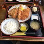 とんかつ 勝よし - 店限定定食:ロース+アジフライ+エビフライ=(1300円)