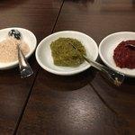 肉山 おおみや - 藻塩、柚子胡椒、辛味噌