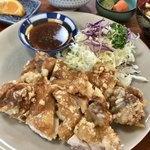 飲み食い処のだや - 料理写真:山賊風鶏の唐揚げ定食(¥1,000)