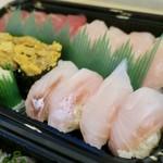 86153950 - まぐろ、びんとろ、穴子、赤貝、いわし、うに、いくら、胡椒鯛を2皿(4貫)ずつ