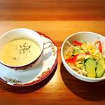 炭火焼肉 森辻亭 - 料理写真:絶品のスープとサラダ