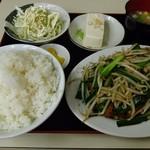 中華 つけ麺 はるき - ニラレバー炒め定食¥720-