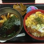 86164188 - カツ丼と半ラーメン醤油