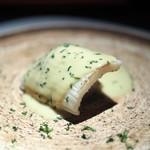 エクアトゥール - あおりいか 賀茂茄子 西京味噌とフォアグラのソース 賀茂茄子がめっちゃ美味しい