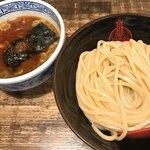 三田製麺所 - 花椒つけ麺。お出汁少し赤いの♡