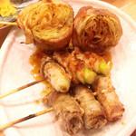 ながりの炉 - 肉野菜巻き(レタス&アスパラ&オクラ)