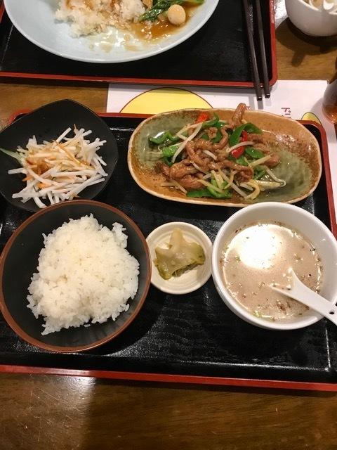 天府記 本店 - ランチ、青椒肉絲定食