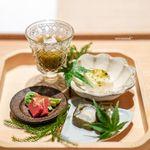 恵比寿 米ル - もずく、蟹身 帆立のムース、あおさのジュレ 龍飛巻き こごみと赤蒟蒻の胡麻クリーム