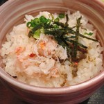 赤坂 三河家 - まずは蟹丼にしていただき、半分はお茶漬けで。おいしくて満足なランチ。