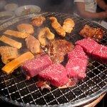 七輪 - お肉を焼き焼き♪