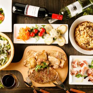 5種ボトルワインの飲み放題で楽しめるコース料理