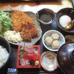 日本橋 墨之栄 - 本日のフライ御膳+刺身小鉢