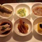 86255605 - 北京ダック、生ザーサイ、クラゲ、カボチャ豆腐、酔っ払い海老、よだれ鶏の前菜
