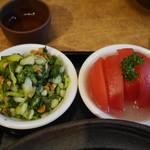 茉莉花 - 青梗菜と松の実の漢サラダ、柚子トマト