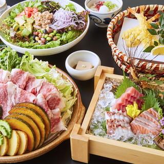 新宿での歓送迎会にピッタリな、夏野菜と牛バラ肉の陶板コース