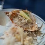 食事 太華 - 棘栗蟹(とげくりがに)+黃韭菜(きにら)