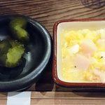 山芋の多い料理店 - 山芋の多い料理店 @西葛西 ランチ 冷たいぶっかけ山芋そばとちびとろろめしに付く帆立の玉子とじと青かっぱ漬け
