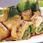旬菜旬肴 きらり - いちばん豚と九条ねぎの黒七味焼き