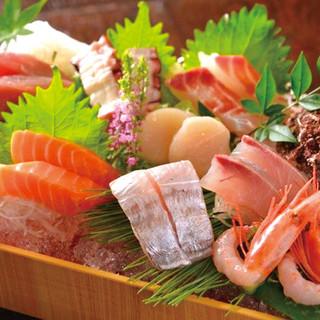 まずはコレ!玄界灘で朝獲れたばかりの超新鮮活魚を【刺身】で。