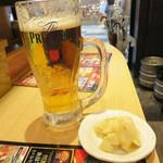 すし将軍 - 生ビールのあてはガリです。食べ放題。