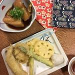 ここら屋 - 季節の天ぷらと豚の角煮 天ぷらは普通。豚の角煮は口の中に入れたら溶けた。やばい、うまい。至高。
