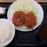 とんかつまるや - メンチカツ定食(800円)