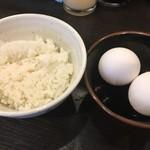 徳福 - ごはん小 110円に無料の生卵2個