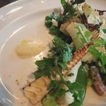 アルルの食堂 urura - 甲イカと筍のソテー レモンのクーリ 空豆、スナップエンドウ