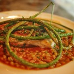 アルルの食堂 urura - 天然真鯛のポワレ 大麦のブイヤベースリゾットと。