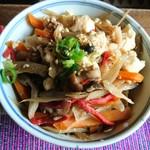 ティースペース 茶楽 - ♪♪♪♪きんぴらごぼうとお豆腐と 牛肉   〜〜すき焼き風な味付け     こんな料理もありだね   家でも 作りましょう