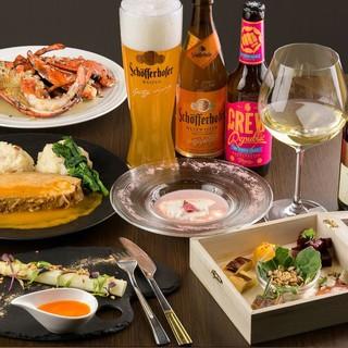 種類豊富なビールとワイン、こだわりの食材を使ったお食事!