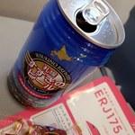 スカイショップ おかだま - ドリンク写真:すすきのビール(ピルスナー/缶);FDA#174機上にて. 上空での開栓は中身の吹出しに充分注意しませう! @2018/05/23