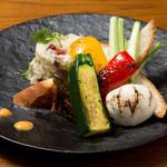 彩り野菜のグリルとマッシュポテト