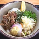 かしむらうどん - 料理写真:冷ブッカケ(肉トッピング+70円)