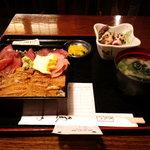魚や 旬 - サラダ、味噌汁、漬物つき