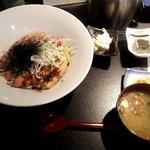 あおき - 煮穴子と炙りサーモン丼(2018.4)