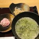 86427477 - 鶏スープ、梅風味ポテサラ、もやしナムル