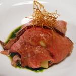 藤沢 日本酒×肉バル 来酒 - イベリコ豚の赤ワイン煮、炙り雲丹仕立て