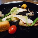 藤沢 日本酒×肉バル 来酒 - オードブル 牛肉と牡蠣のSUKIYAKI風 ふくよかな牡蠣、高野豆腐 牡蠣のウニ乗せ