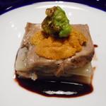 藤沢 日本酒×肉バル 来酒 - デザート キウイのスープ、ヨーグルトのムース添え