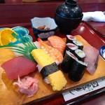 北海寿し - 蒸しランチ 1050円 (まだ茶碗蒸しの登場前)