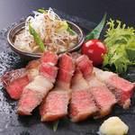 信州牛カルビの炙り焼き 特製のネギ塩ダレで