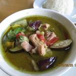 カンラヤ タイ料理 - ゲーン・キョウ・ワーン(グリーンカレー・ライス付き,全景)