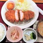 かつ波奈 - 料理写真:熟成豚厚切りロースかつ定食+半熟玉子かつ